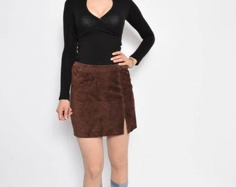 Vintage 90's Suede Leather Brown Skirt - Size Small