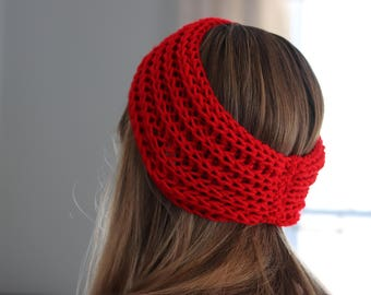 Red Headband - Womens Knit Headband - Red Earwarmers - Knit Winter Headband - Red Hairband - Red Knit Hairband - Winter Hair Accessories