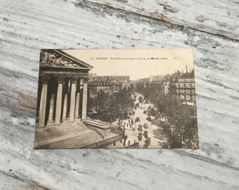 Vintage Paris Postcard . La Madeleine . French Vintage Postcard . Topographic Postcard France. Travel Postcards .