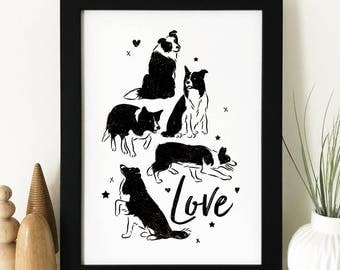 Border Collie 'Love' Print