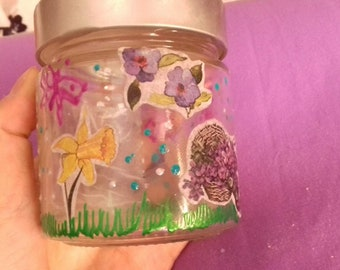 Painted Jar for tealight