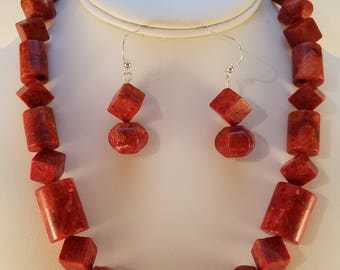 Orange coral necklace and earring set