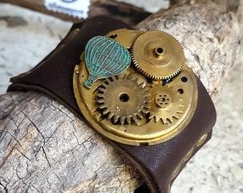 Timeless  Baloon Mechanism Steampunk Leather Wristband Cuff -Bracelet-Steampunk Bracelet-Steampunk cuff-steampunk gift