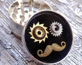 Steampunk Metal Herb Grinder -  Steampunk Moustache Spice Crusher... - metal herb grinder - pepper grinder - spice grinder - tobacco grinder