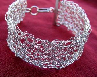 Hand crocheted wire cuff bracelet, Silver cuff crocheted bracelet, Crocheted wire silver bracelet