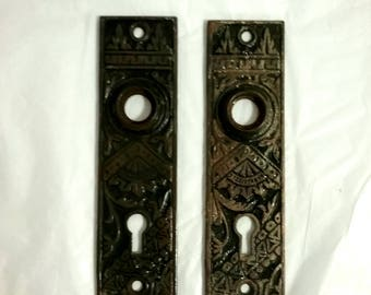 "Pair of Eastlake Door knob Plates, Bamboo/Oriental pattern, w/Key Escutcheon, Measures 5 & 1/8 "" by 1 - 1/2 "".Circa '1880'. See All Photos"