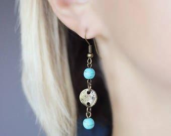 Turquoise Earrings Dangle Brass Earrings Boho Earrings Turquoise Beaded Earrings Everyday Earrings Brass Jewelry Boho Jewelry Modern Earring