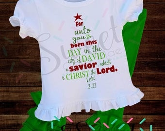 Christmas Tree / SVG / Cut File / Religious / For Unto You / Cameo Projects / Cricut Projects / Silhouette / Clipart / DIY Project / Wood