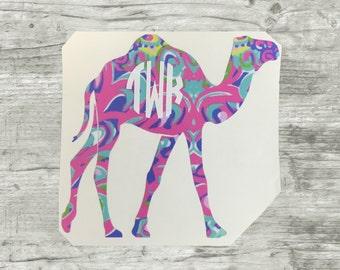 Camel Monogram, Monogram Decal, Camel Sticker w Initials, BTS Decal
