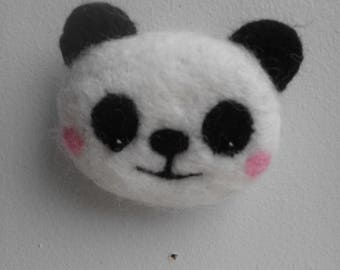 Panda bear brooch needle felted