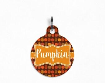"""Pet ID Tag   """"Pumpkin"""" - Pumpkin Patch (Brown)"""