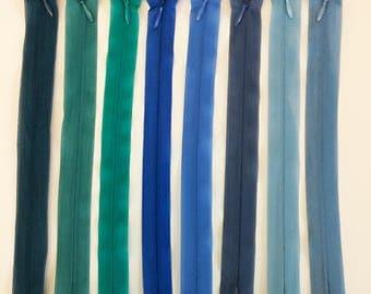 Set of 8 closure invisible zipper 20 cm assorted colors - set 1