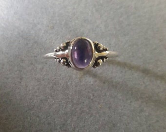 Sterling Silver Oval Amethyst Ring, February Birthstone #R40SSA