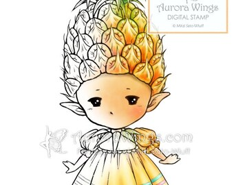 Digital Stamp - Pineapple Sprite - Whimsical Little Tropical Fruit Fairy Fantasy Line Art for Cards & Crafts by Mitzi Sato-Wiuff