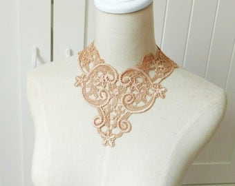 white vintage lace bib necklace /beige black copper/large choker necklace //lace collar accessory /wedding bridal necklace / gift for her