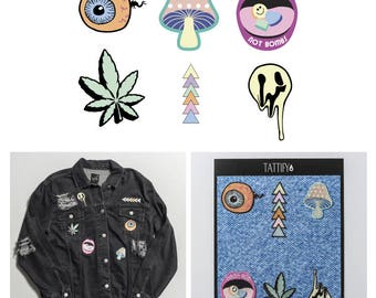 Under The Influence Trippy Hippie Embroidered Sticker Patch Set Spaced Out Collection