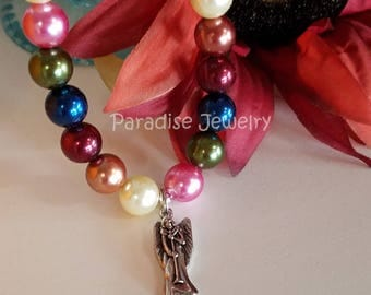 Children's Jewelry Gabriel The Archangel Pearl Bead Necklace, Angel with Horn Pendant , Girls Angel Necklace, Christmas Angel, Advent Gift