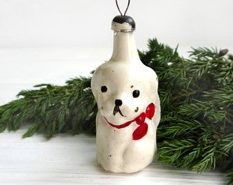 White puppy with red bow Cute dog Puppy Christmas glass ornament 1950s Christmas decorations Gift for pet lover Xmas gift Soviet decor