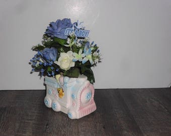 Small Baby Boy Floral Arrangement, Blue and Ivory Rose, Ceramic Baby Train Vase, Its a Boy Sign, Baby Shower Arrangement SAF1006