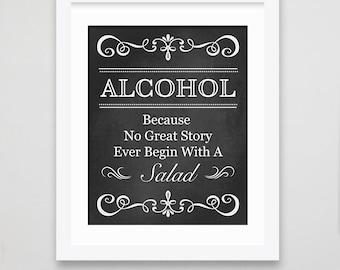 Wedding sign / Wedding Alcohol Sign/ Alcohol Sign / Wedding Bar Sign / Wedding Printable / Rustic Wedding Décor / Chalkboard Sign