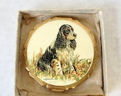 Stratton Powder Compact, Spaniel, Illustrated by K F Barker, Made in England, Gold Tone, Vintage Compact, 1950s