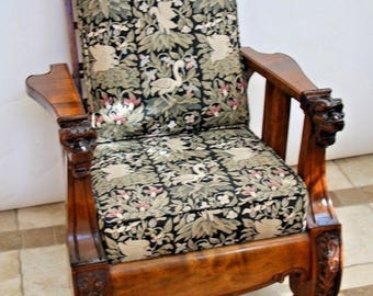 Stunning Rare Antique Victorian Burl Oak Claw Foot Recliner Arts & Crafts Chair, Nationwide shipping available call for best rate