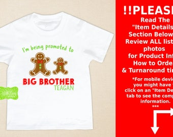 Big Brother Gingerbread Iron On - Sibling Shirt Iron On - Sibling Iron On - New Baby Iron On - Personalized Gingerbread Iron On