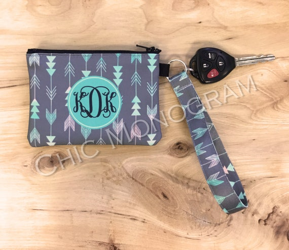 Tribal ID Wallet Monogram Key Chain Aztec Key Fob Coin Purse Key Chain Zipper Wallet Personalized Key Fob Wristlet Aztec Car Accessories