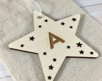 INITIAL // LETTER Personalised Wooden Star Christmas Tree Decoration