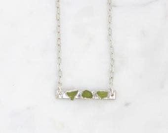 raw peridot necklace | green peridot pendant | august birthstone pendant | august birthstone necklace | raw crystal necklace | bar pendant