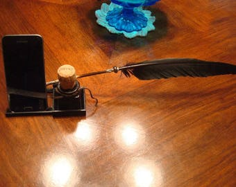 Quill Pen Ink Dip Feather PEN PHoNE INKWELL Stand
