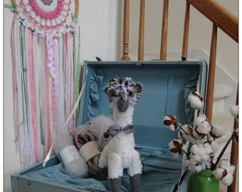 ASHER the LLAMA - ALPACA - Super Soft White Llama/Alpaca with Gray Wool face/legs, Llama Nursery Decor
