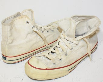 Vintage 1960s Mens Sears Jeepers High Top White Red Blue Basketball Shoes Sneakers SZ 9.5 M G12