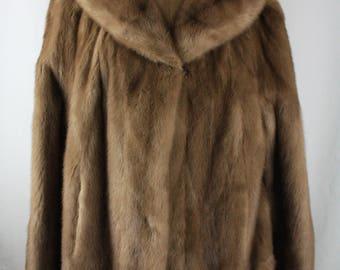 Vintage Normart's Fur Light Brown / Blonde Mink Fur Collared Coat G11