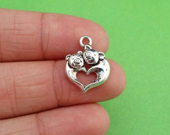 8 Pig Love Heart Piglet Compassion Silver Charms