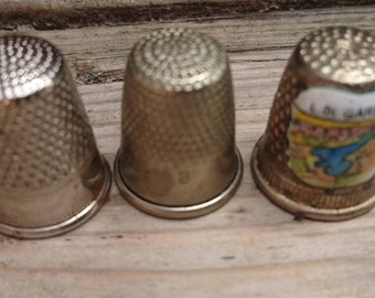 Lot of three vintage thimbles