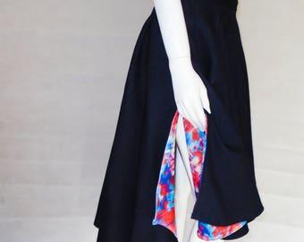 Women's handmade full skirt with short train. Prom fashion. Custom skirt. PETITE sizes