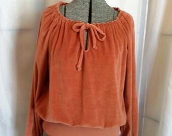SHOP CLOSING 70% OFF Vintage velour blouse dark orange velour blouse peasant blouse vintage clothing womens clothing womens blouses Size Lar