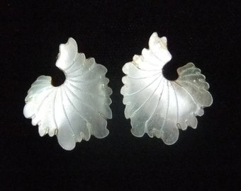 "Vintage Pearl White Enamel Over Silver  ""Ruffled"" Shell Earrings, 3 Dimensional"