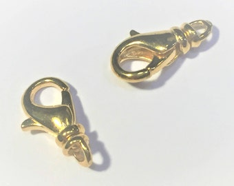 2 Gold Plated Swivel Lobster Claw Clasps, 12x7mm,  Finding, Jewelry supplies, necklace clasp, bracelet clasp, Jewelry making supply