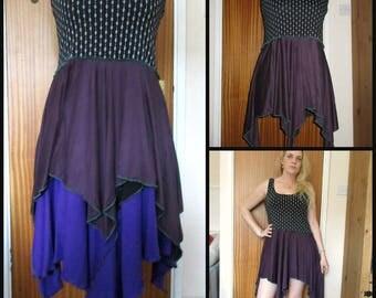 Plus size 16 18 20 22 upcycled hanky hem top tunic shirt black dark purple eggplant aubergine vest hippie layering faerie pixie hippy boho