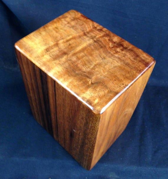 """Large Curly Hawaiian Koa Memorial Cremation Urn... 7""""wide x 5""""deep x 9""""high Wood Adult Cremation Urn Handmade in Hawaii LK091417-A"""
