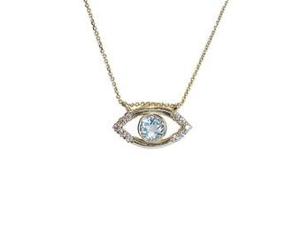 Blue Eye Topaz And Diamonds, Eye Necklace, Eye Pendant,  Blue Eye Pendant ,  Eye with Diamonds and Topaz