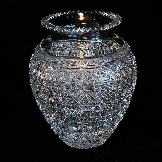 LARGE Cut Crystal Glass Vase / Wedding Table Reception / Elegant Home Decor / Interior Decorator / Housewarming