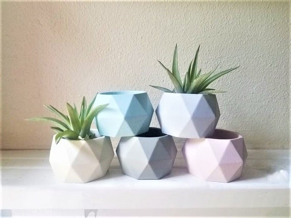 Pastel geometric mini planters, geometric candle holders, pale pink,light grey,  tea light candle holders, votive candle holders, ombre