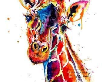 Colorful Giraffe Watercolor Painting - print of original Giraffe art