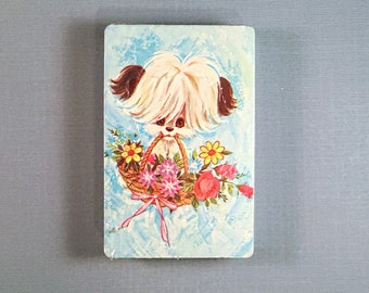 Cute Dog with Basket of Flowers VINTAGE Playing Cards Single Deck