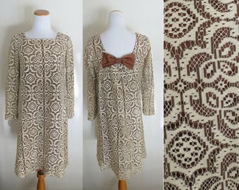 Bow Back Dress 60s Mod Party Dress 1960s Cream Brown Lace Shift Size Medium Large Long Sleeves Toni Todd Dolly Kawaii Cute Formal