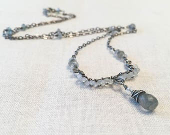 Labradorite and Moonstone Rustic Mini Bib Necklace - Oxidized Sterling Silver Wire Wrapped Blue Flash Gemstone Beaded Necklace OOAK Gift