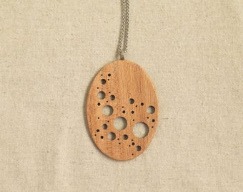 Paisley Dots I (Large Myrtle Wood Pendant)